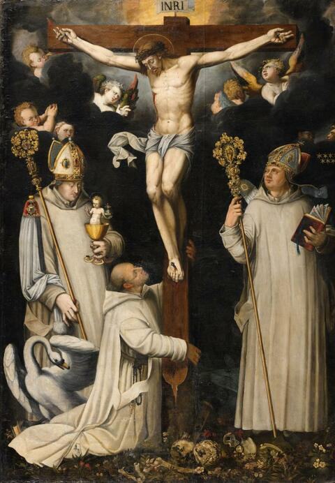 German School circa 1600 - Christ on the Cross with Saint Bruno, Hugh of Lincoln and Hugh of Châteauneuf