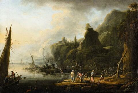 Johann Alexander Thiele - Küstenlandschaft mit Schiffsanleger