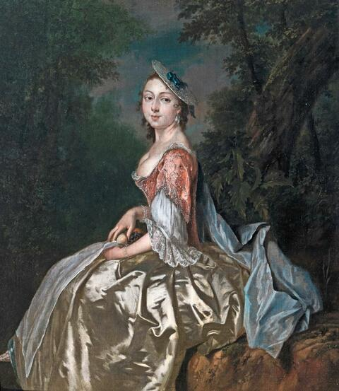 George van der Mijn - Portrait of a Young Lady in a Silk Dress