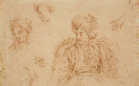 French School of the 18th century - Study of a Reclining Sultan