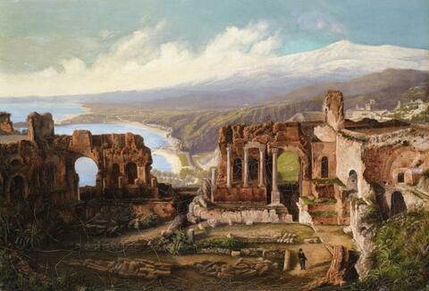 Deutscher Künstler um 1840/1850 - Taormina mit dem Ätna