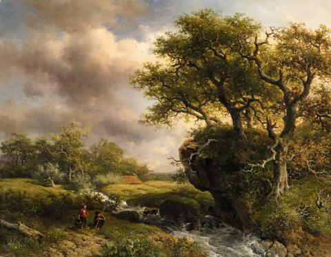 Willem Roelofs - Landscape with a Stream and Two Anglers