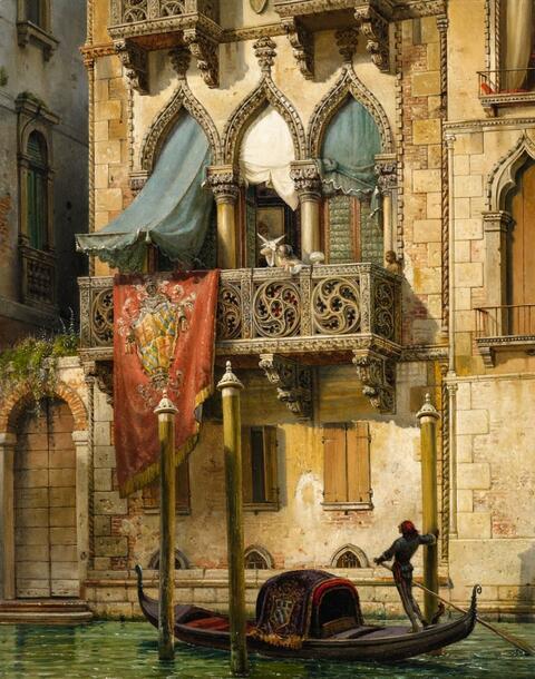 Friedrich Nerly - Palazzo Contarini in Venedig (Haus der Desdemona)