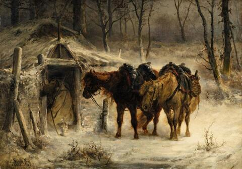 Adolf Schreyer - Winter Landscape with a Huntsman and Horses