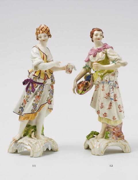 A Gotzkowsky porcelain figure of a shepherdess as an allegory of water. -