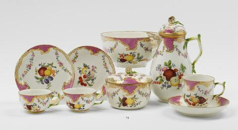 Several pieces from a Gotzkowsky porcelain coffee service. -