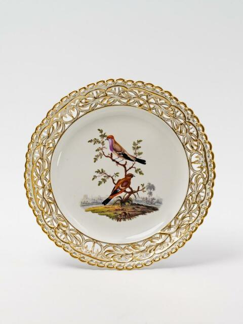 Dessertteller mit Vogelmalerei -