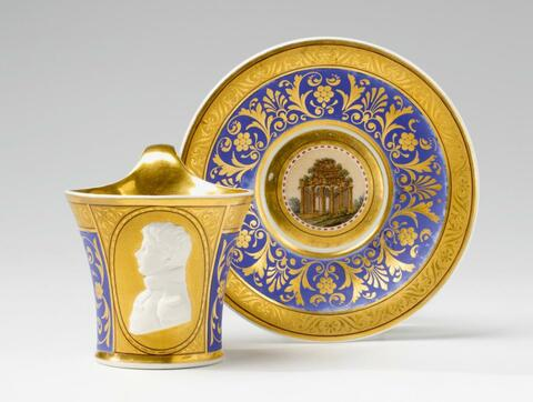 A cup and saucer with a portrait of Crown Prince Frederick William. -