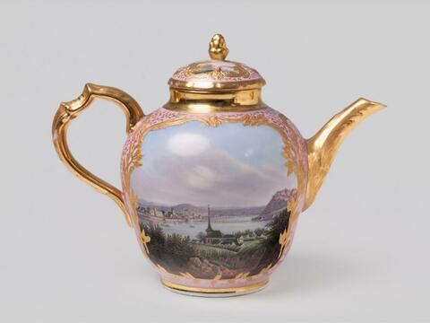 Teekanne mit Rheinansichten -