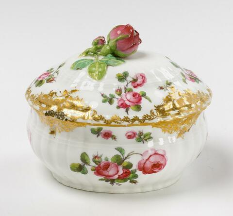 Ovale Deckeldose mit Rosenknauf -
