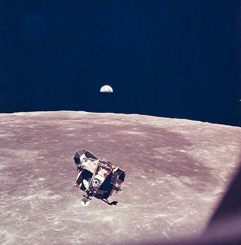 NASA - Lunar module viewed from command and service modules, Apollo 11