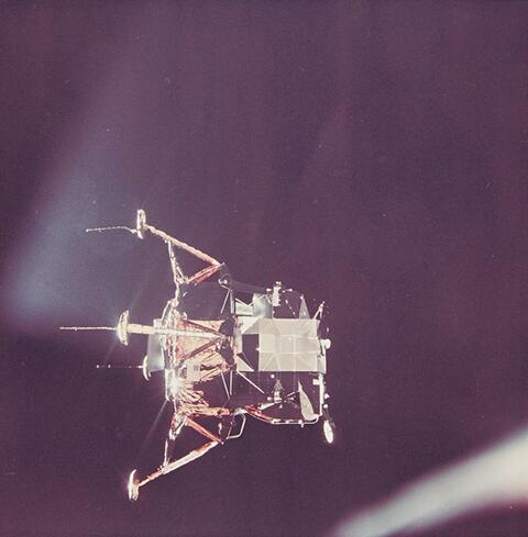 NASA - Lunar module viewed from the command and service modules, Apollo 11