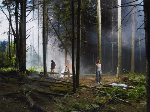 Gregory Crewdson - Production Still (Forest Gathering #4) 'Beneath the Roses'