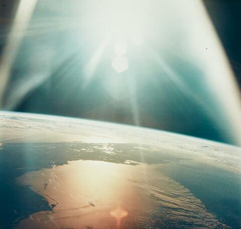 NASA - The morning sun reflects on the Gulf of Mexico and the Atlantic Ocean, Apollo 7