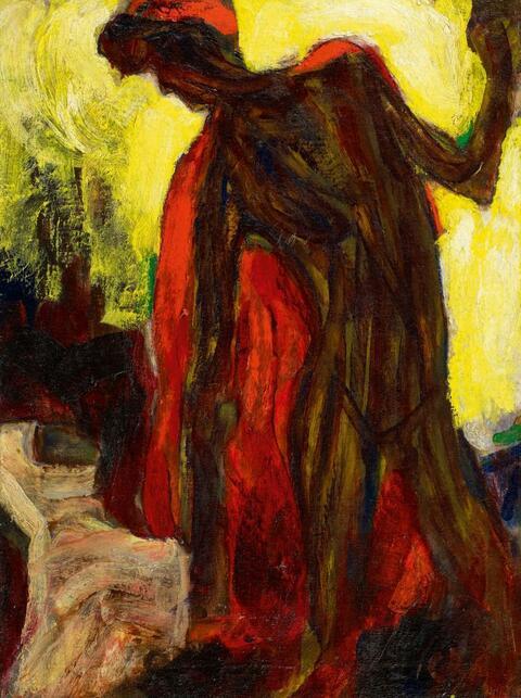 Christian Rohlfs - Tänzerin mit rotem Schal (Weiblicher Negerakt im roten Mantel)