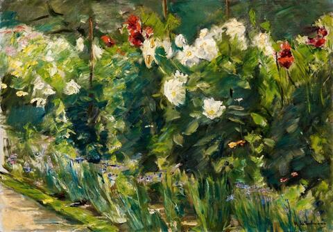 Max Liebermann - Rote und weiße Blumen nach Südosten (Blumenstauden im Nutzgarten nach Südosten)