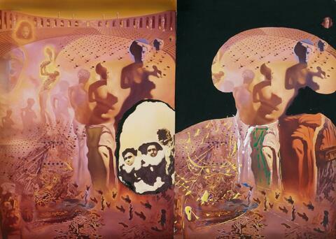 """Salvador Dali Y Domenech - Étude pour """"Le Toréador hallucinogène"""" (Variation autour du tableau """"Toreádor Hallucinogène"""", avec tête de Voltaire du tableau """"Marché d'Esclaves avec Apparition du Buste Invisible de Voltaire"""")"""