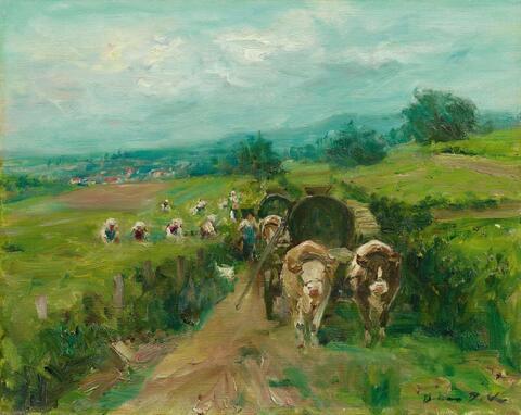 Otto Dill - Weinlese mit Ochsenkarren