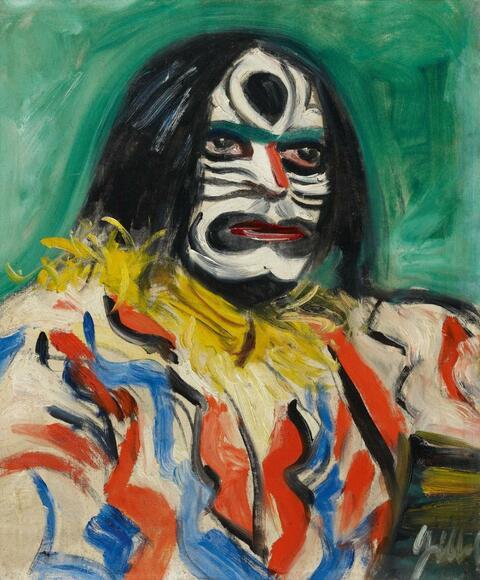 Barthel Gilles - Der Kunsthändler Alois Faust mit Maske