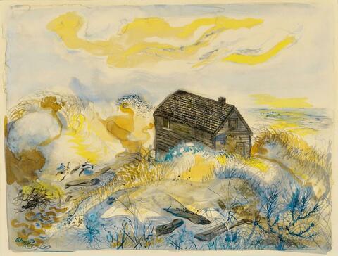 George Grosz - The Abandoned House, Cape Cod (Dünenlandschaft)