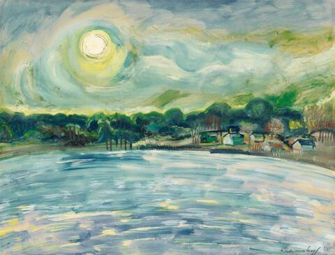 Bruno Krauskopf - Sonne über einem See