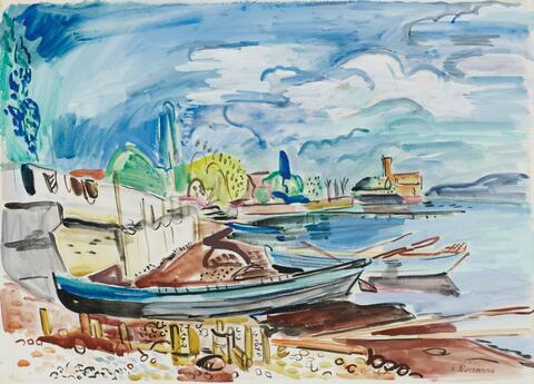 Hans Purrmann - Boote am Ufer (Langenargen)