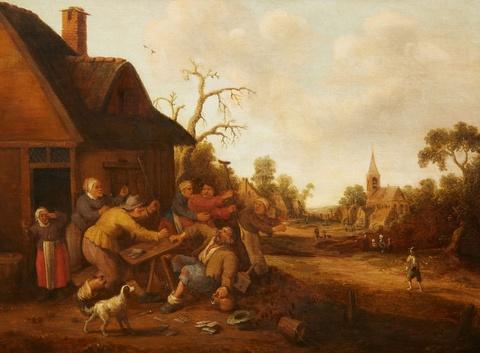 Joost Cornelisz. Droochsloot - A Village Scene with Peasants Fighting