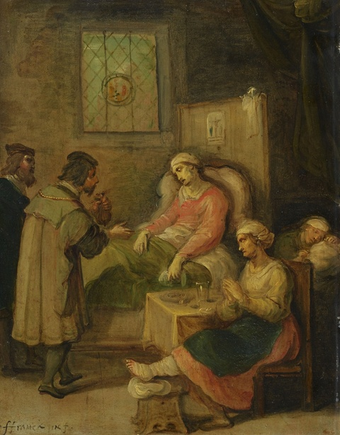 Frans Francken the Younger, follower of - Visiting a Sick Woman