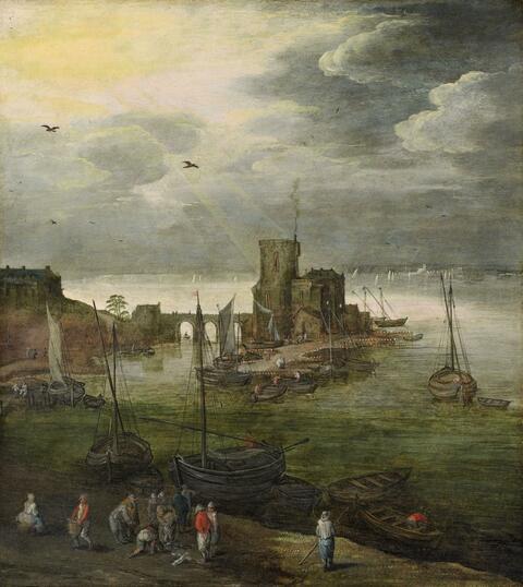 Joos de Momper Jan Brueghel d. J. - Hafenansicht mit Fischern