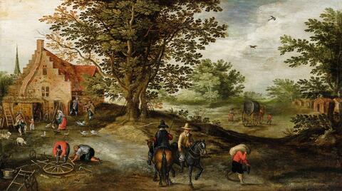 Jan Brueghel d. J., Umkreis - Landschaft mit Reitern und Bauern