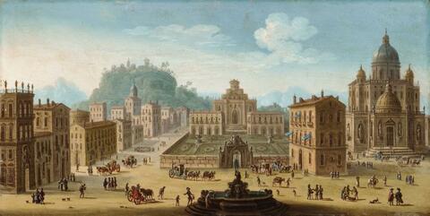 Juan Salvador Ruiz - A Fanciful Palace with a Fountain, Church and Figures