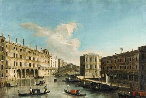 Italienischer Meister um 1800 - Ansicht von Venedig mit der Rialtobrücke