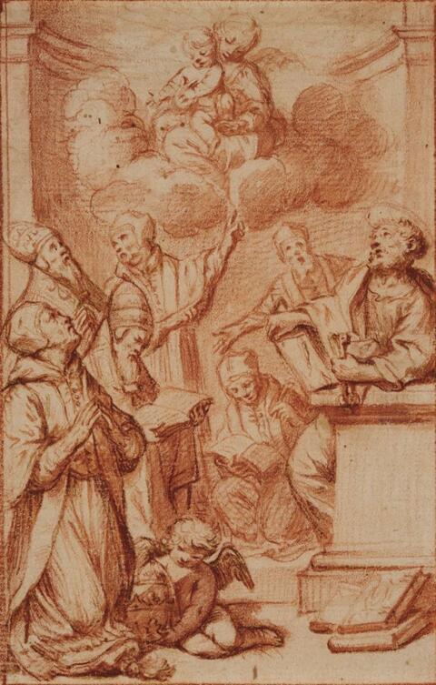 Süddeutscher Meister um 1700 - Die Muttergottes erscheint einer Versammlung von Heiligen