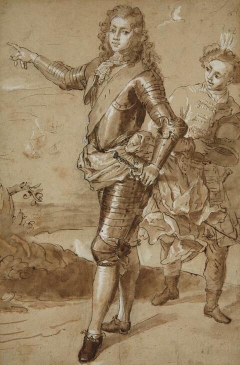 Französischer Meister des 18. Jahrhunderts - Bildnis des Moritz von Sachsen mit einem Pagen