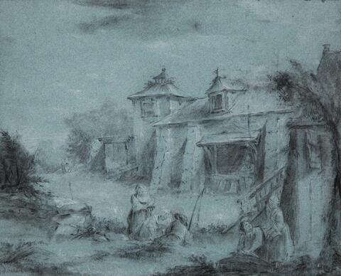 Französischer Meister des 18. Jahrhunderts - Landschaft mit Gehöft und Figuren
