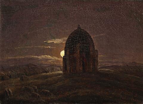 Deutscher Künstler um 1830 - Landschaft mit Tempel im Mondschein