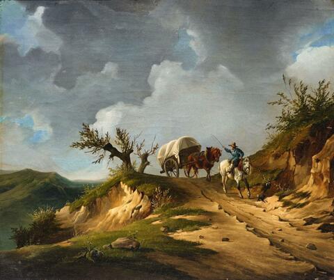 Deutscher Künstler um 1830 - Landschaft mit Reiter und Kutsche