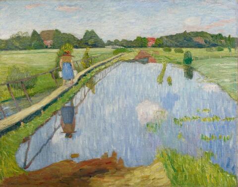 Otto Modersohn - Melkersteg Fischerhude, vor der Wassermühle an der Wümmeschleuse