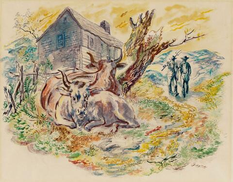 George Grosz - Bäuerliche Szene mit Rindern