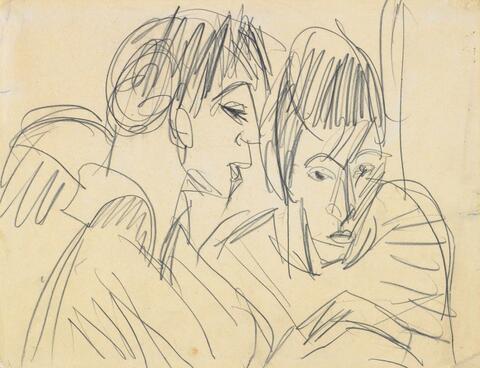 Ernst Ludwig Kirchner - Paar. Verso: Liegendes Mädchen