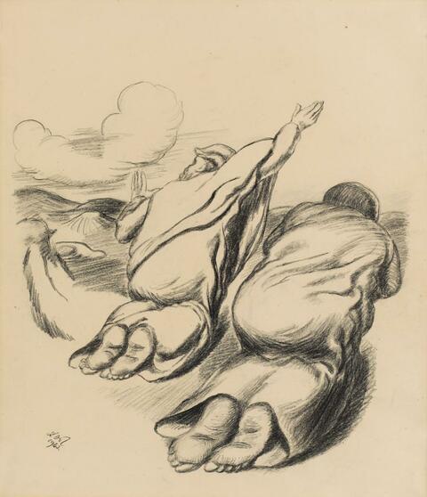 Ludwig Meidner - Zwei kniende Figuren/Rückenansicht bzw. Zwei Figuren in der Landschaft