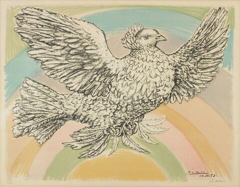 Pablo Picasso - Le Colombe volant (à l'Arc-en-ciel)
