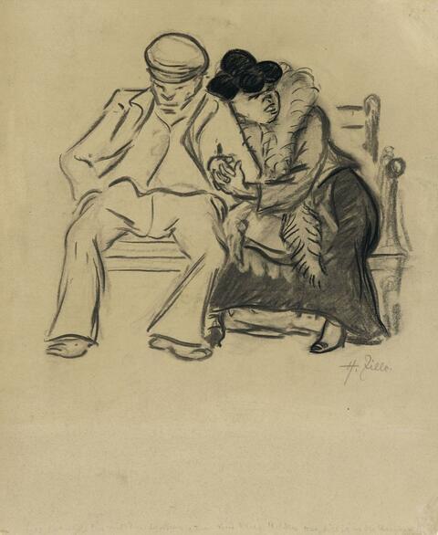 Heinrich Zille - Arbeiterpaar auf der Parkbank