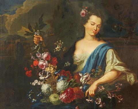 Augustin Terwesten the Elder - A Young Woman with a Garland (Flora?)