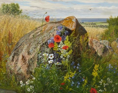 Carl Frederik Aagaard - Wildblumen vor einem Getreidefeld