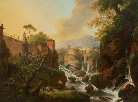 Deutscher Künstler des 19. Jahrhunderts - Ansicht von Isola del Liri (Isola di Sora) mit Wasserfall