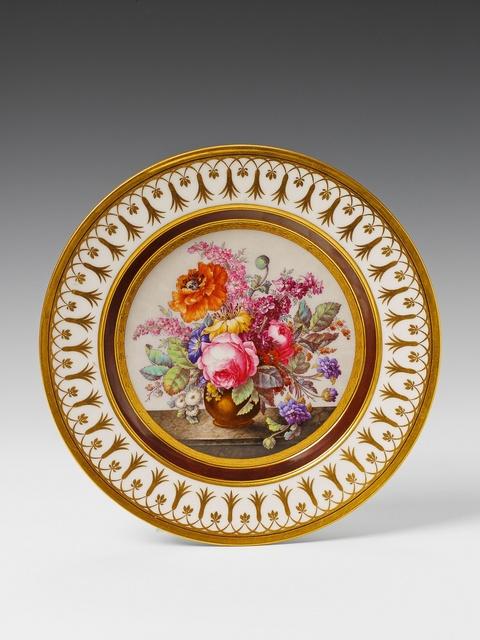 Signierter Teller mit Blumenstillleben -