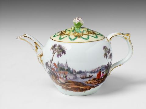 Teekanne mit Flusslandschaften -