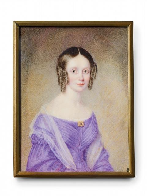 Porträt einer Biedermeierdame in violettem Kleid -