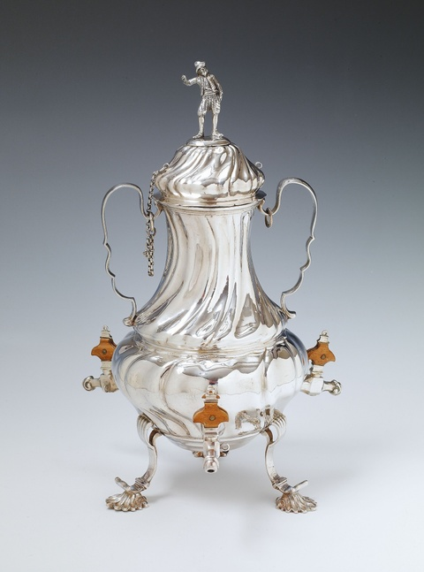 An Augsburg silver coffee urn with three wooden handled taps. Marks of Johann Georg Kloss(e), 1747 - 49. -